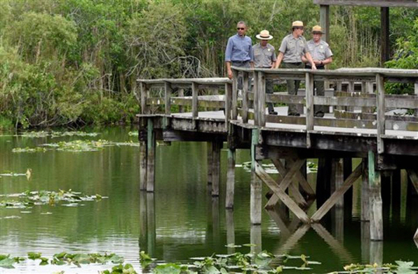 """Here in the Everglades, we've already invested $2.2 billion in restoration efforts.  With the support of some outstanding members of Congress, I've proposed another $240 million this year.  We want to restore the natural water flow of the Everglades, which we know is one of the best defenses against climate change and rising sea levels."" (Susan Walsh