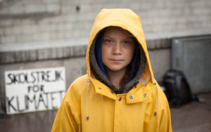 Greta Thunberg in her yellow rain slicker
