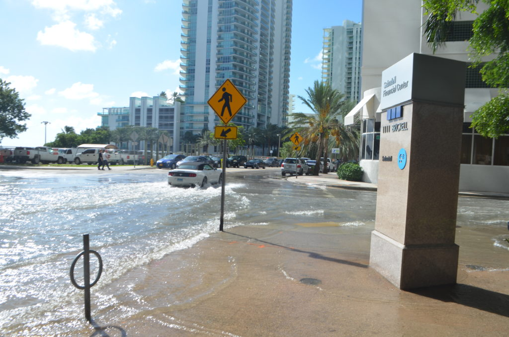 Sunny day high tide nuisance flooding in Brickell, Downtown Miami, Florida on October 16, 2016